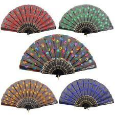 Embroidered Spanish Flower Silk Cloth Folding Held Hand Fan Wedding Dance Party