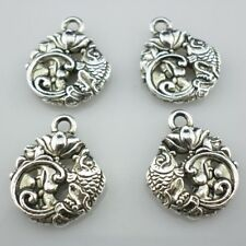 6/30/250pcs Tibetan Silver Carp/Lotus lucky Charms Pendants Fit Jewelry Making