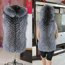 100% Silver Fox Fur Vest Hoody Women Jacket Outerwear Warm Fur Coat V0059