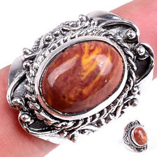 Handmade 925 Sterling Silver Red Sea Sediment Jasper Gemstone Ring M1029