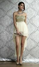 Beige new Charming Boulevard Sequined Long evening Women party Dress 1671