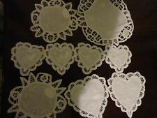 WHITE COTTON CUTWORK LACE EMBROIDERY DOILIES COASTER TABLEMATES 9 PIECE SET