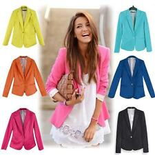 Celeb Womens Long Sleeve One Button Candy Color Blazer Casual Jacket Suit Coat