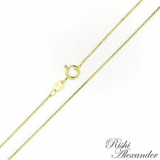 14k Gold over 925 Sterling Silver Box Chain Necklace 0.8mm Wholesale Lot of 10