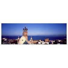 Poster Print Wall Art entitled Cathedral City and Bay Puerto Vallarta Mexico