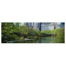 Poster Print Wall Art entitled Pond in a park, Central Park South, Central Park,