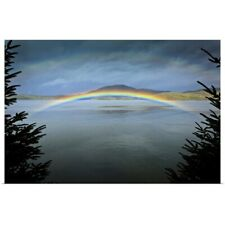 Poster Print Wall Art entitled Low arching rainbow over the waters of Clover