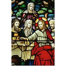 Poster Print Wall Art entitled Stained glass painting of last supper