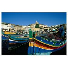 Poster Print Wall Art entitled Fishing boats moored in harbor, Malta