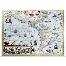 Poster Print Wall Art entitled 17th century map of the New World