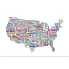 Poster Print Wall Art entitled United States Cities Text Map, Multicolor on