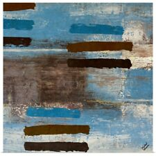 Poster Print Wall Art entitled Blue Barred Abstract Square I
