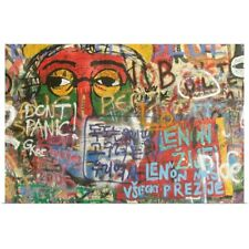 Poster Print Wall Art entitled Detail of graffiti on John Lennon Wall, Mala