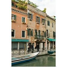 Poster Print Wall Art entitled Boats docked in an urban canal, Venice, Italy
