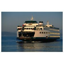 Poster Print Wall Art entitled A ferry crosses the sheltered waters of Puget