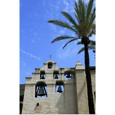 Poster Print Wall Art entitled The bell wall of Mission San Gabriel Arcangel,