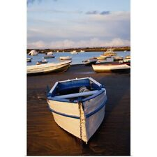 Poster Print Wall Art entitled Boats Moored Near The Harbor Of Chiclana De La