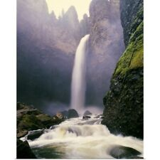 Poster Print Wall Art entitled Tower Falls in Morning Mist