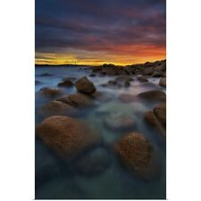Poster Print Wall Art entitled Sunset over rocky beach II