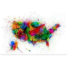 Poster Print Wall Art entitled United States Paint Splashes Map