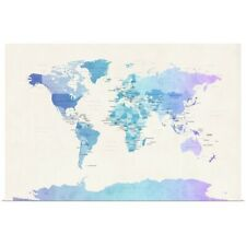 Poster Print Wall Art entitled Watercolour Political Map of the World
