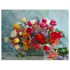 Poster Print Wall Art entitled Spring flower bouquet of Tulip, Hyazinthus,