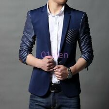 Fashion 2017 New Mens Slim Fit Casual Suit Stripe One Button Blazer Coats Jacket