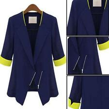 2017 Womens Chiffon Suit Jacket Blazer Casual OL Business Outerwear BLUE Coat