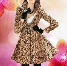 New Fashion Women's Leopard Belted Long Trench Coat Jacket Dress#86