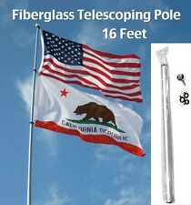 16FT FIBERGLASS TELESCOPING FLAG POLE rv camp desert antenna mount 16'