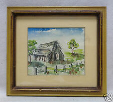 """Signed & Matted Barn Watercolor Painting w. Antique Wooden Frame- 8.5"""" x 9"""""""