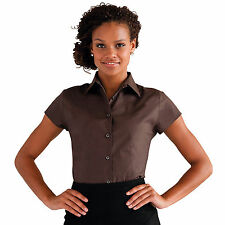 Womens Russell Collection Short Sleeve Easycare Fitted Stretch Shirt J947F