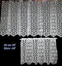 """CAFE NET CURTAIN drop 16"""", 24"""" ready to hang up, White"""