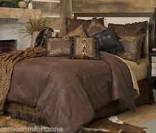 NEW GOLD RUSH SUEDE COMFORTER BEDDING SET RUSTIC LODGE SOUTHWESTERN FAUX LEATHER