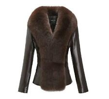 100% Real Sheep Leather Jacket Coat Fox Fur Collar & Mink Trim Outwear Lady Warm