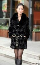 100% Real Genuine Mink fur/furs Coat Black Jacket  Long ourwear Clothing Deluxe