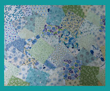 FLORAL fabric GREEN and BLUE patchwork squares 4 x 4 ins (10cms) 25 or 50 packs