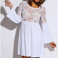 Sheer Lace Sexy Bell Sleeve Retro Party Mini Skater Dress 8571 women Autumn