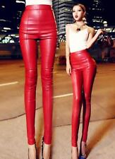 Women's Skinny Stretchy Hi-Rise Trousers Sexy PU Leather Punk Motorcycle Pants A