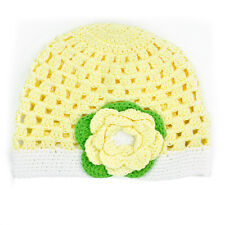 Toddler Kid Girl Baby Handmade Crochet Knit Flower Hat Cap Beanie Photo Prop NS