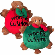 Multipet WOOFIE CUSHION REINDEER Dog Toy Soft Plush Crinkle Grunter Red Green