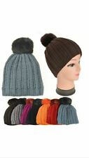 Ladies Cool Chunky Knitted Woolly Beanie Faux Fur Bobble Pom Pom Ski Winter Hats