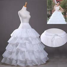 White 4-Hoop 5 Layer Petticoat Crinoline Bridal Wedding Dress Slip Accessories