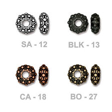 TierraCast Casbah Euro Bead - antiqued pewter spacer bead - 4mm ID large hole