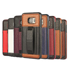 Luxury Leather TPU Wallet Back Case Safety Belt Cover Skin For Samsung iPhone