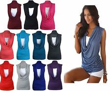 Ladies GATHERED COWL NECK TOP Women Sleeveless Long VEST Top lot Size 8-26