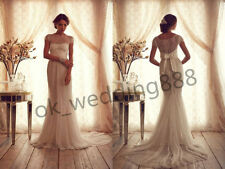 Charming Slim Lace Ivory White Mermaid Wedding Dress Prom Bridal Gown All Size