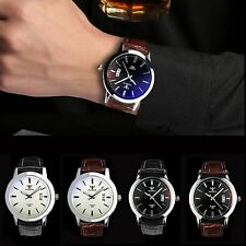 Fashion Men's Date Leather Stainless Steel #T Military Sport Quartz Wrist Watch