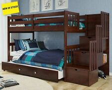 Dark Wood Twin Bunkbed - Stairs w Storage & Shelves - Add Trundle, More Drawers!