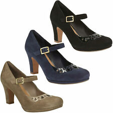 CHORUS MUSIC LADIES CLARKS SUEDE LEATHER BUCKLE MID HEEL MARY JANE COURT SHOES